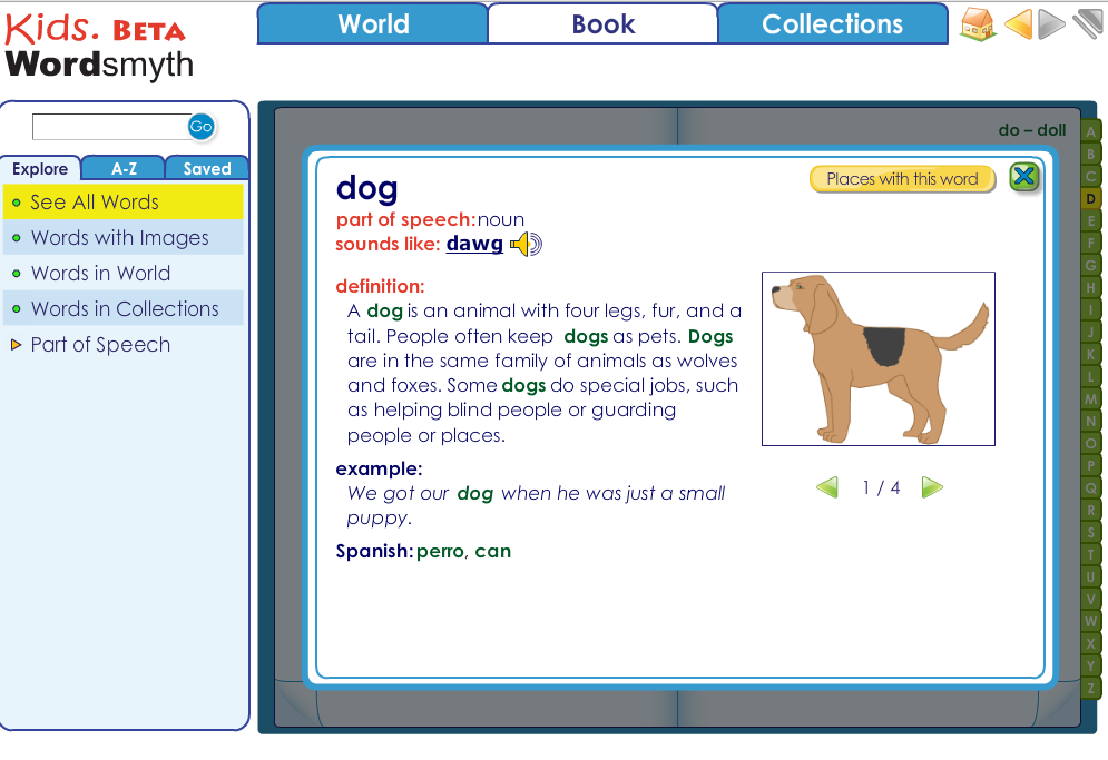online dictionary with guide words