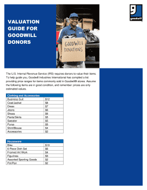 tax valuation guide for donated goods