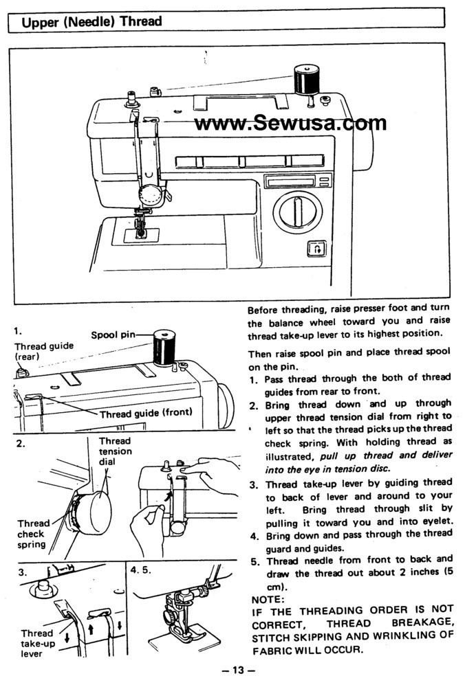 thread guide on a sewing machine